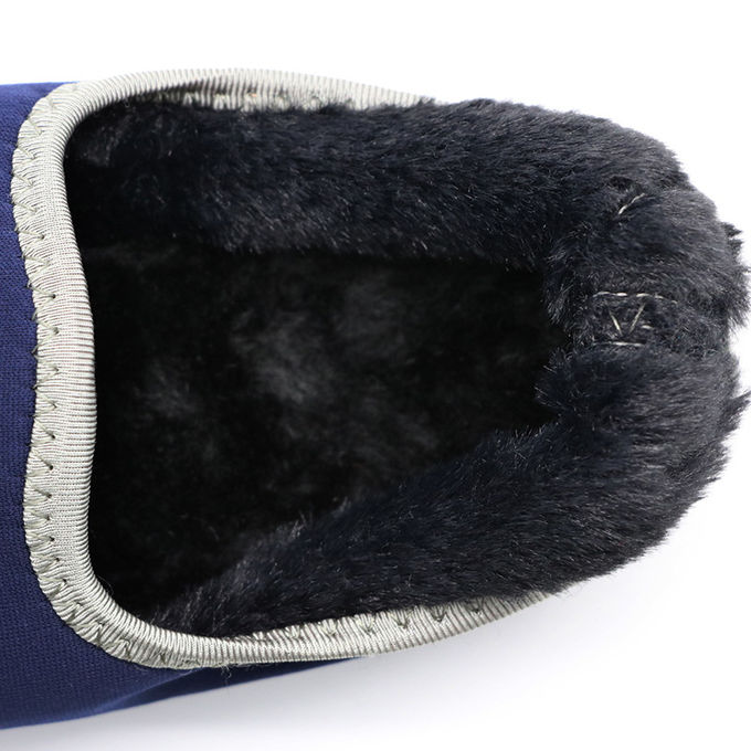 Home Anti - Skid Warm Winter Shoes Faux Fur Grey And White Line Pattern
